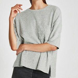 ZARA Trafaluc Pearls Pocket Soft Touch Sweater